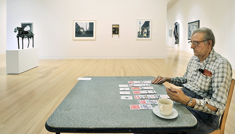 """""""Old Man Playing Solitaire,"""" a sculpture by Duane Hanson, circa 1973, represents an especially striking piece in the new Alfond-Lunder Family Pavilion of the Colby College Museum of Art in Waterville. The museum reopens to the public this week."""