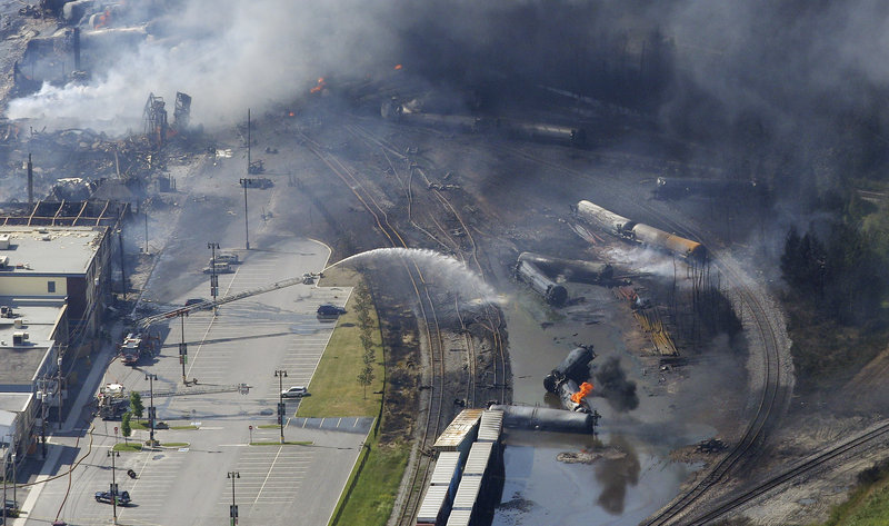 The wreckage of a train is pictured after explosion in Lac Megantic