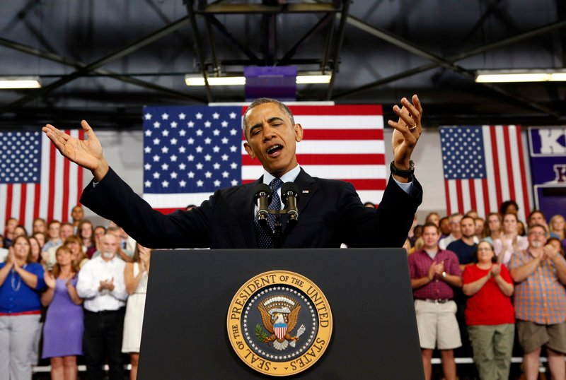 "President Obama talks about the economy Wednesday during a visit to Knox College in Galesburg, Ill. He said the economy would be the ""highest priority"" of his second term."