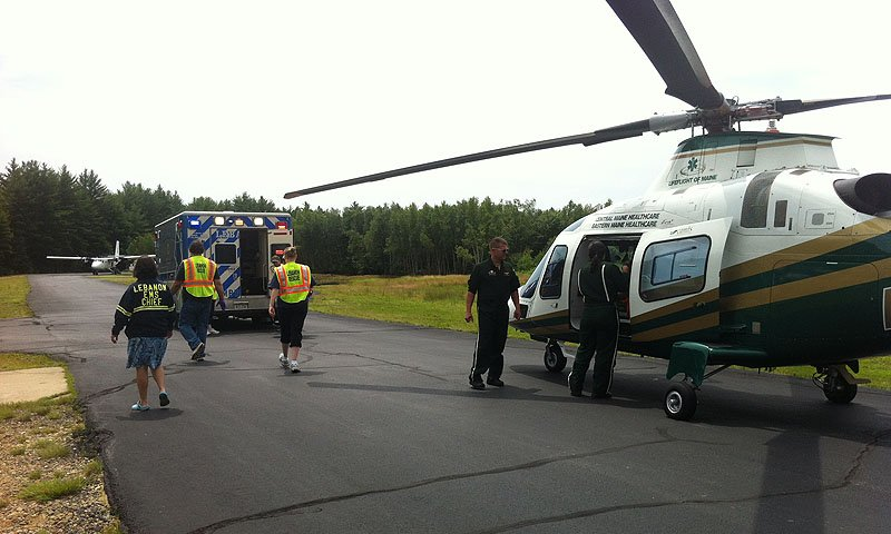 An East Lebanon woman who was thrown from her horse was taken to Skydive New England, which has a runway and landing area, to be transported by helicopter to Maine Medical Center in Portland.
