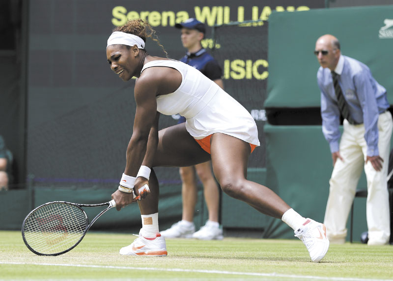 Stumbling on the Centre Court grass a couple of times while her game slumped in crunch time, the No. 1-ranked and No. 1-seeded Williams dropped the last four games to bow out 6-2, 1-6, 6-4 Monday against 23rd-seeded Sabine Lisicki of Germany.