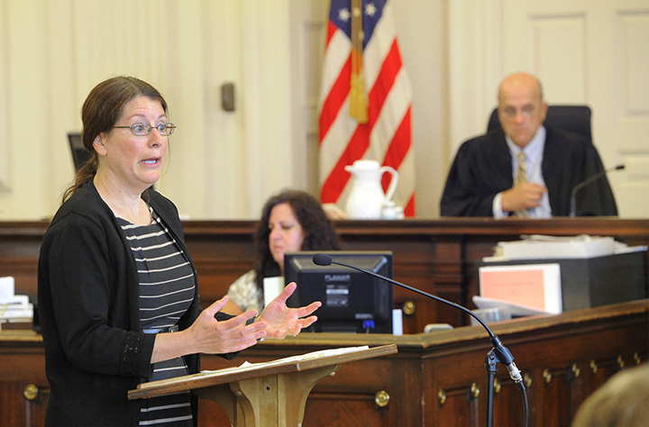 Deputy District Attorney Justina McGettigan presents her opening arguments during the jury trial of Donald Hill in York County Superior Court in Alfred. Judge Roland Cole presides.