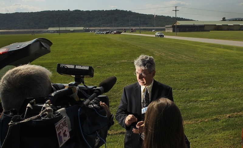 Deputy Maine Attorney General in charge of the criminal division, William Stokes, briefed the assembled media at Moark Egg Farm in Turner on Tuesday, August 20, 2013, regarding the Monday incident in which a man was accidentally shot and killed at the farm by a co-worker who was shooting rodents and stray chickens.