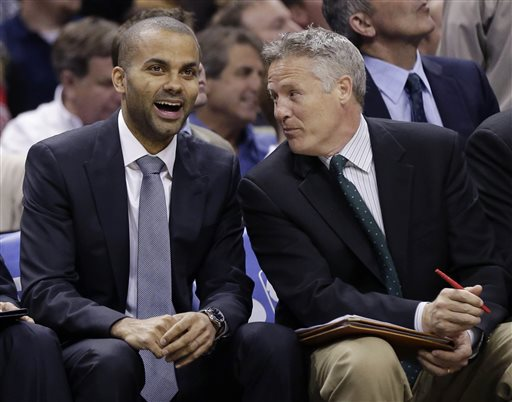 HEAD GUY IN PHILLY: San Antonio Spurs assistant coach and South Portland native Brett Brown, right, has reportedly been hired as head coach for the Philadelphia 76ers. Brown was in final discussions Friday night with Philadelphia regarding terms and finances, according to Yahoo! Sports. The Sixers have been searching for a coach since Doug Collins resigned in April.