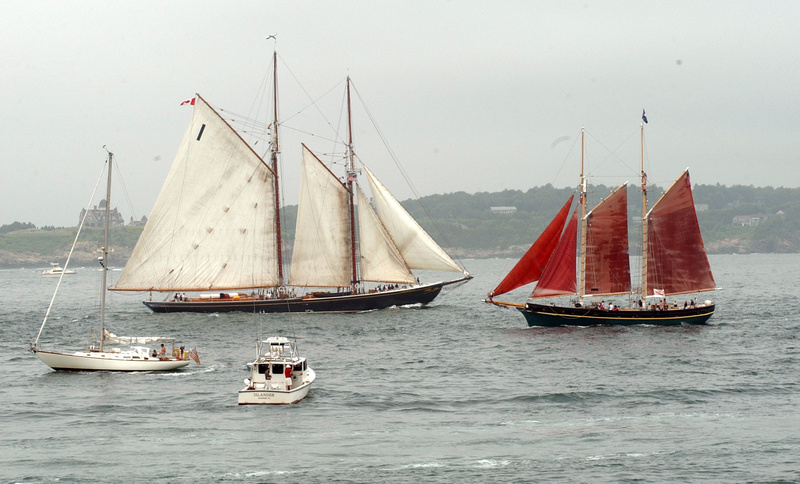 The Aurora, right, a two-masted schooner, sails past the Bluenose II, left, a reproduction of the original Nova Scotia Grand Banks fishing schooner, during a tall ships parade in 2004 just off the shore of Newport, R.I. The Bluenose, a tourist draw, is in dry dock.