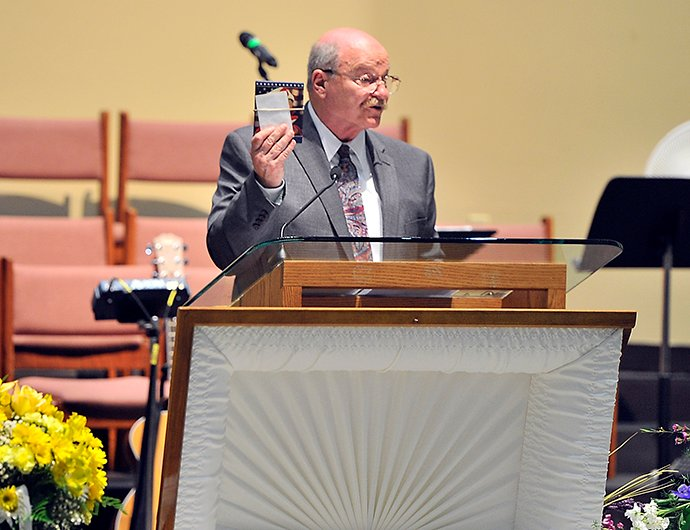 Ashley Drew's father speaks at A Celebration of Life for his daughter at First Baptist Church in Portland on Friday.