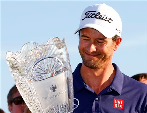 Adam Scott shot a 5-under 66 on Sunday to win The Barclays in Jersey City, N.J.