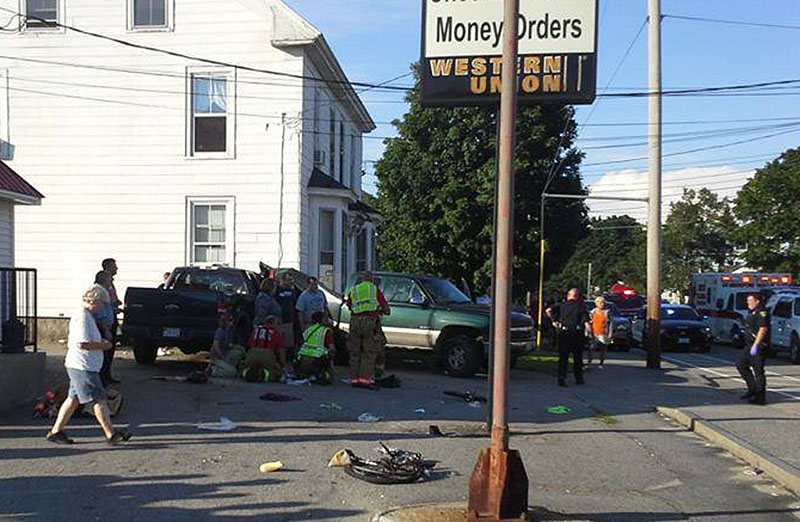The scene of Friday's accident in Biddeford.