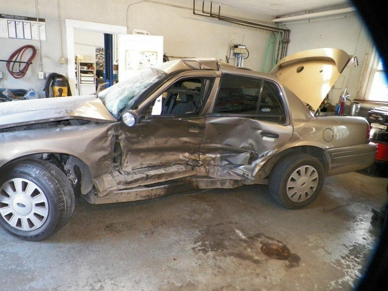This state police cruiser was destroyed when it was hit by a suspected drunken-driver on Interstate 95 in Old Town.