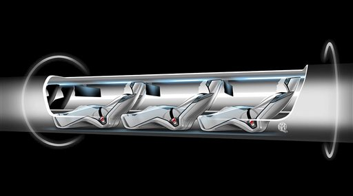 This image released by Tesla Motors shows a sketch of the Hyperloop capsule with passengers onboard. Billionaire entrepreneur Elon Musk has asked the public to perfect his rough plans.