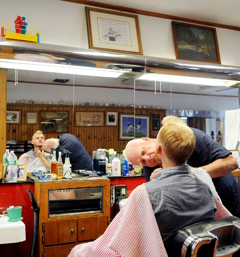 Barber Shop Oakland : ... barber Roland Marquis at Doms Barbershop in Hallowell. Staff photo by
