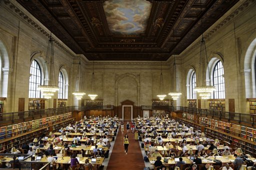 Patrons use the Rose Reading Room at the main branch of the New York Public Library.