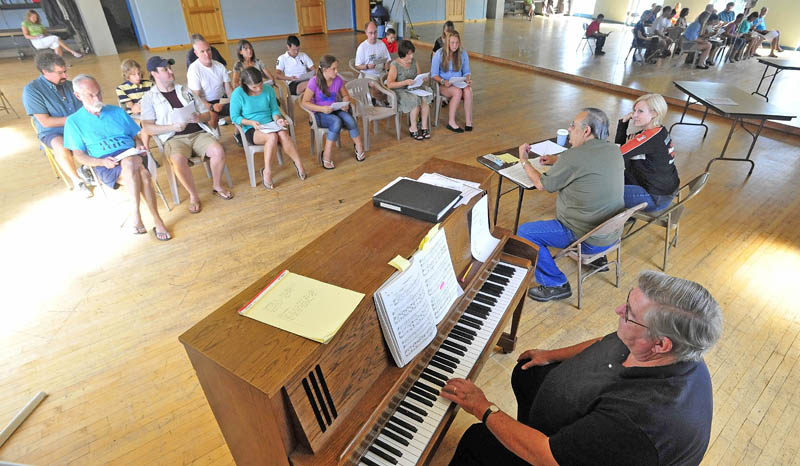 """Dave Hovey plays the piano during auditions today for the upcoming production of """"Fiddler on the Roof,"""" at the Waterville Opera House dance studio on Main Street in Waterville."""