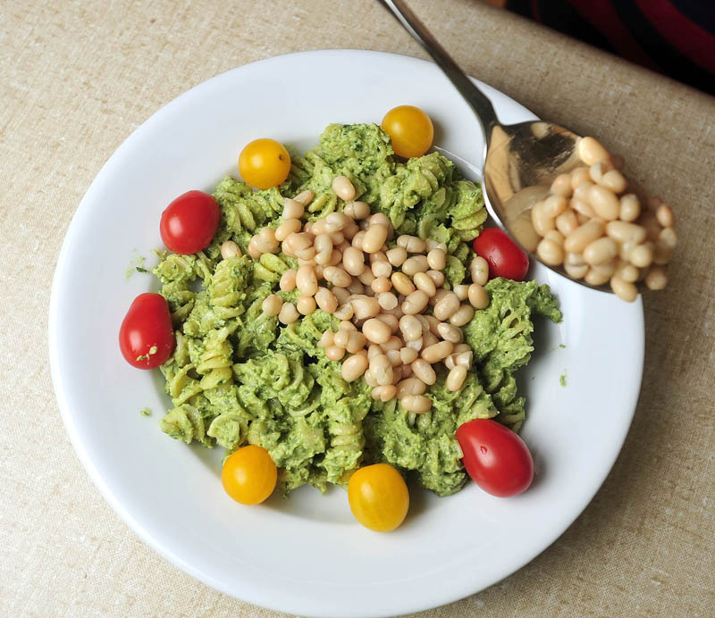 """""""Noah's Vegan Powerhouse Pesto Pasta,"""" created by Noah Koch, 9, of Waterville, is pictured today. He was selected as a winner in First Lady Michelle Obama's Healthy Lunchtime Challenge for his recipie."""