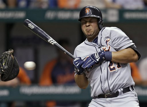 Detroit Tigers' Jhonny Peralta ducks away from a pitch during June game against Tampa Bay.