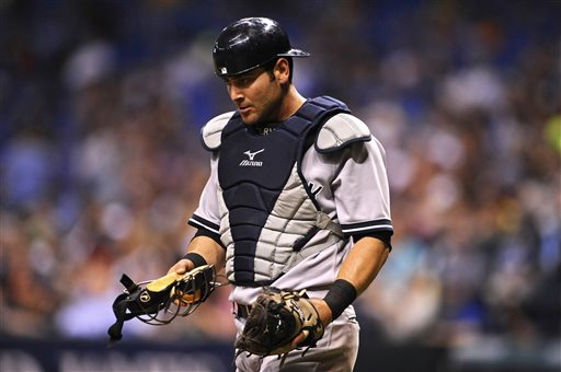 New York Yankees catcher Francisco Cervelli reacts to a play during an April game against the Tampa Bay Rays in St. Petersburg, Fla.