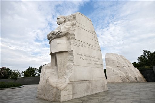 """The Martin Luther King Jr. Memorial is seen in Washington on Monday. The controversial inscription on its side reads: """"I was a drum major for justice, peace and righteousness."""" The truncated line was paraphrased from a sermon King delivered in 1968: """"Yes, if you want to say that I was a drum major, say that I was a drum major for justice. Say that I was a drum major for peace. I was a drum major for righteousness. And all the other shallow things will not matter.''"""