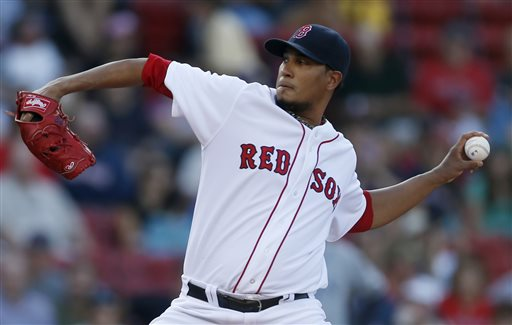 Boston Red Sox pitcher Felix Doubront pitches in the first inning Sunday against the Arizona Diamondbacks at Fenway Park in Boston. Doubront pitched seven shutout innings as the Red Sox won 4-0.
