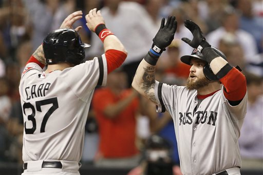Boston Red Sox's Jonny Gomes, right, is greeted at home plate by teammate Mike Carp (37) after hitting a two-run home run against the Houston Astros in the seventh inning of a baseball game on Wednesday, Aug. 7, 2013, in Houston. (AP Photo/Pat Sullivan) Minute Maid Park