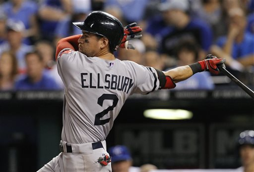 Boston Red Sox's Jacoby Ellsbury hits against the Kansas City Royals in the seventh inning of a baseball game at Kauffman Stadium in Kansas City, Mo., Saturday, Aug. 10, 2013. (AP Photo/Colin E. Braley)