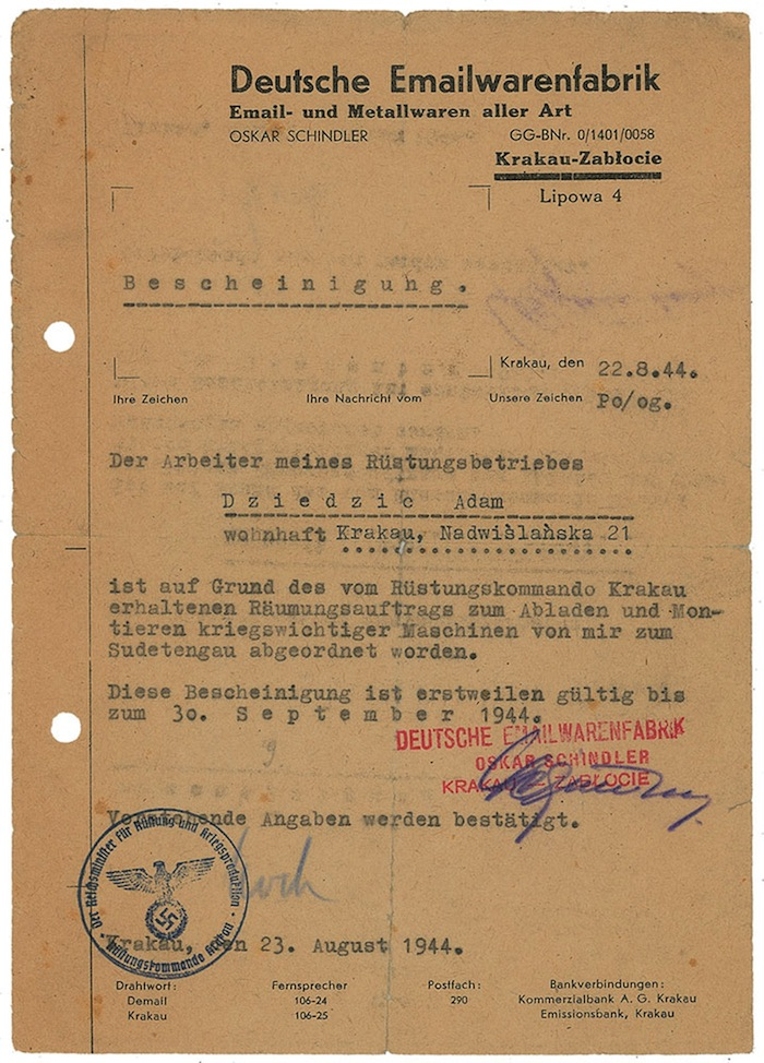 This photo provided Aug. 7, 2013 by RR Auction House of Amherst, N.H. shows a one-page letter in German dated Aug. 22, 1944 and signed by Oskar Schindler. The auction house says it will take bids this month on a collection of documents signed by Oskar Schindler, the industrialist who saved more than a thousand Jewish workers during World War II.(AP Photo/RR Auction House)