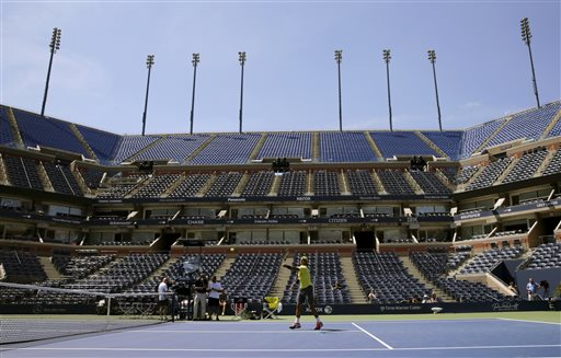 Rafael Nadal of Spain practices a day before the US Open tennis tournament, Sunday, Aug. 25, 2013, in New York. (AP Photo/Charles Krupa)