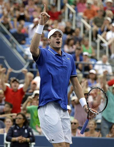 John Isner reacts after a point against Philipp Kohlschreiber during the third round of the U.S. Open on Saturday in New York.