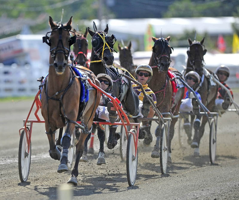 WIRE-TO-WIRE: W. Drue Campbell drives Real Special in the front of the pack in the Walter H. Hight Memorial Pace on Saturday at the Skowhegan Fairgrounds. Real Special won with a time of 1 minute, 54.1 seconds.