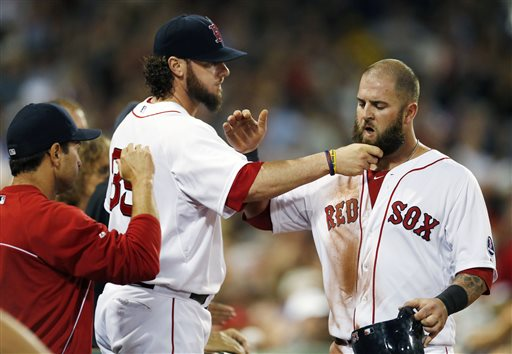 Boston Red Sox catcher Jarrod Saltalamacchia pulls Mike Napoli's beard after Napoli scored on a double by Jonny Gomes in the third inning against the Chicago White Sox Saturday at Fenway Park in Boston. The Red Sox won 7-2.