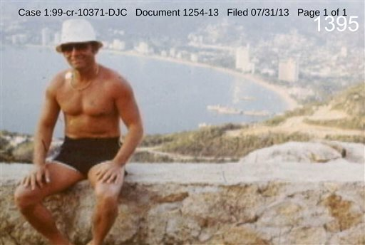 """This undated photo filed in federal court documents in Boston by defense attorneys for James """"Whitey"""" Bulger shows him in an unknown location. The photo was among several that showed a softer side of Bulger, which prosecutors complained were an attempt to salvage his reputation."""