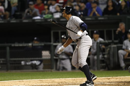 Alex Rodriguez, who's appealing his 211-game suspension, grimaces after flying out during Monday's loss to the Chicago White Sox – the first major league game the controversial Yankee has played since the 2012 postseason.