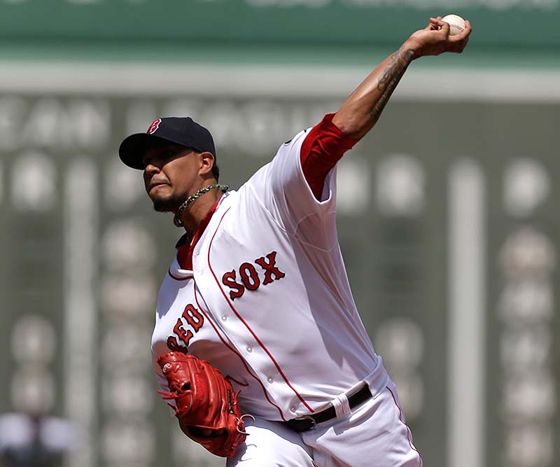 Felix Doubront of the Red Sox delivers a pitch against the Arizona Diamondbacks in Sunday's game at Fenway Park. Doubront pitched seven shutout innings in holding an opponent to three runs or fewer for the 15th straight start.