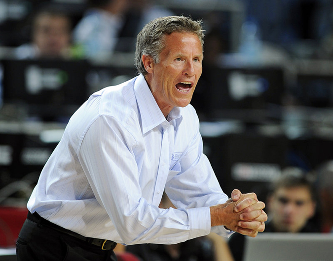 In this September 2010 photo, Brett Brown, then-head coach of the Australian team, shouts instructions during the World Basketball Championship against Slovenia in Istanbul, Turkey.