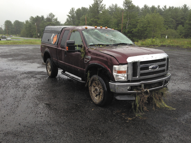 The pickup truck, carrying fireworks on Interstate 95 in Sidney today, is pictured after being retrieved from the accident scene.