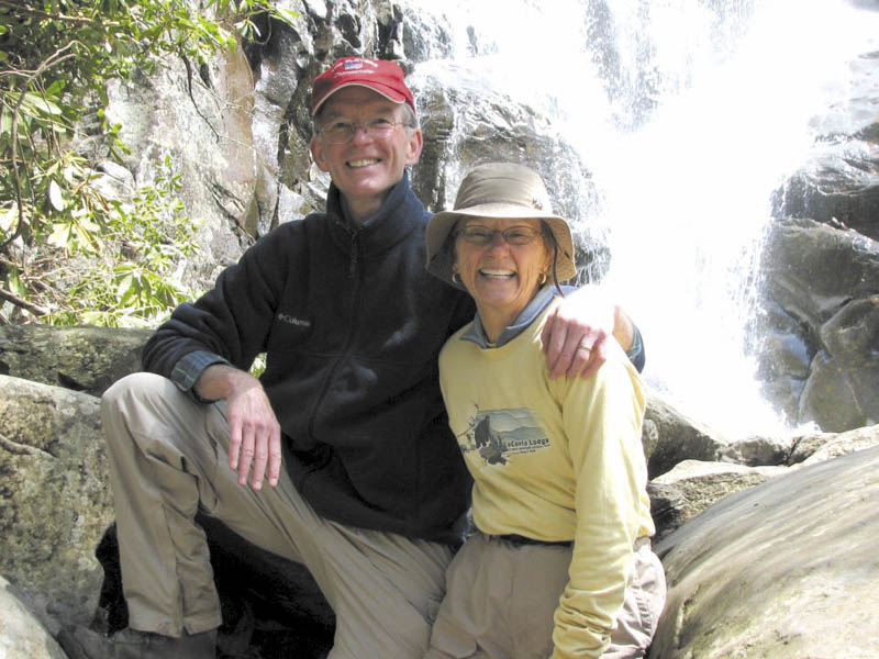 """This photograph, posted to Geraldine Largay's Facebook page in April, shows George and Geraldine Largay at the Ramsey Cascades in Great Smoky Mountains National Park, which straddles the borders of Tennessee and North Carolina. """"She loved camping. She loved outdoors,"""" George Largay said today of his wife, who disappeared from the Appalachian Trail in Franklin County last month."""