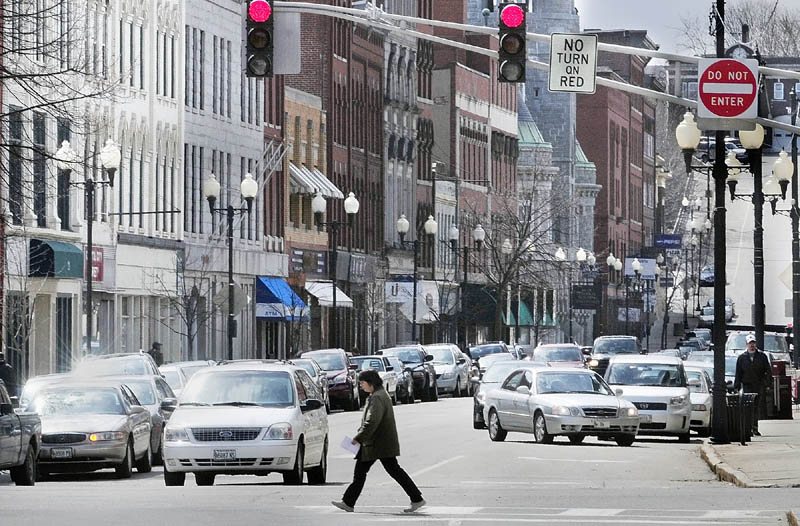 Water Street, at Bridge Street in downtown Augusta, is pictured on April 2. The Augusta Downtown Alliance seeks a director whose job will center on staying abreast of the area's trends.
