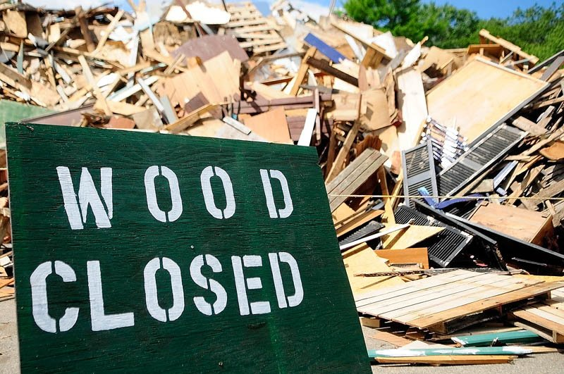 The wood disposal pile is closed at Hatch Hill Landfill today in Augusta.
