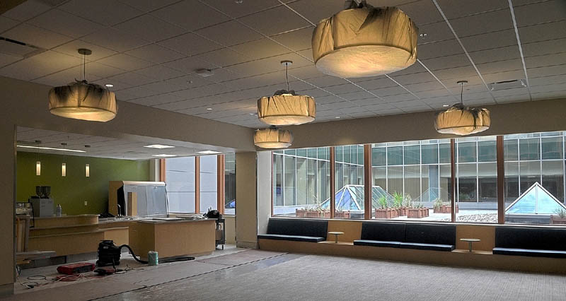 This photo taken on Wednesday shows a lobby at the Alfond Center for Health regional hospital in Augusta.