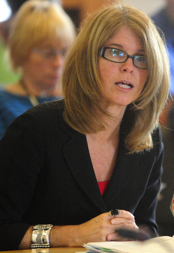 Mary Mayhew, commissioner of the Department of Health and Human Services, testifies during a Appropriations Committee hearing on Thursday at the State House in Augusta.