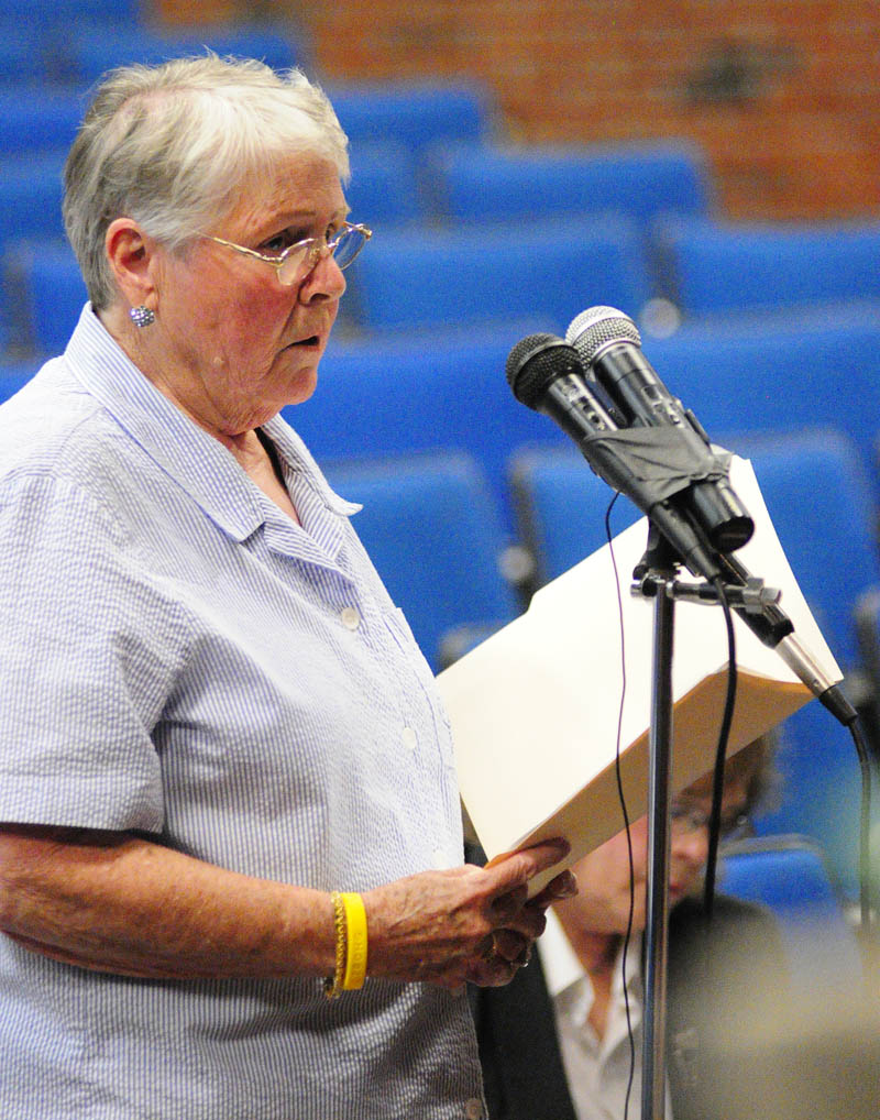 Marguerite Lachance, 79 of Springvale, testifies about smart meters during a Public Utilities Commission hearing on Wednesday at Jewett Hall on the campus of University of Maine at Augusta.