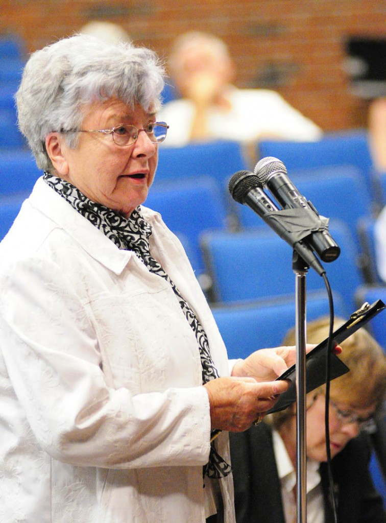 Wilma Cobb testifies about smart meters during a Public Utilities Commission hearing on Wednesday at Jewett Hall on the campus of University of Maine at Augusta.
