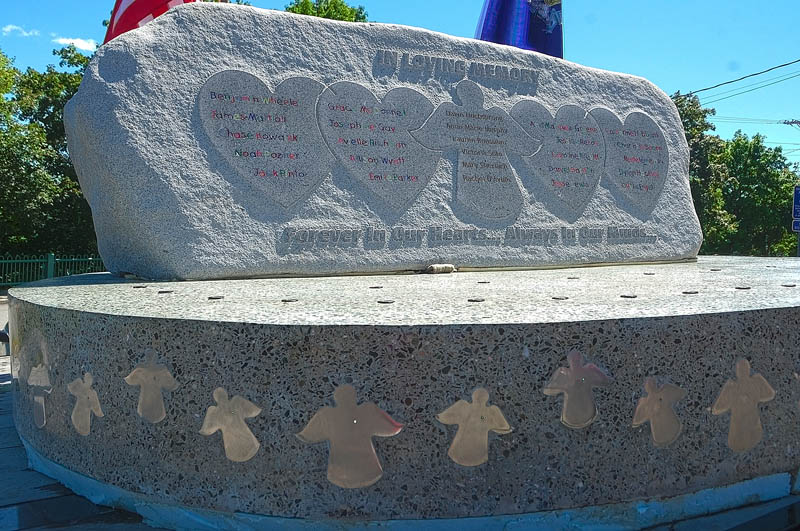 This photograph shows the Rock of Angels monument to the victims of December's massacre at Sandy Hook Elementary School, which is making its way from Maine to in Newtown, Conn., during a stopover at Hartford Fire Station in Augusta today.