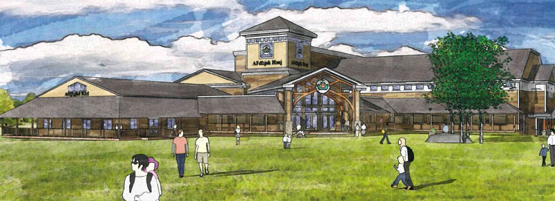 An artist's sketch of the New England Music Camp's planned education center and Recital Hall on the shore of Messalonskee Lake in Sidney.