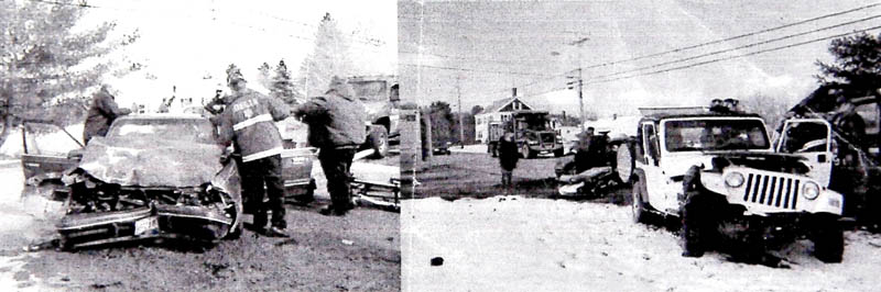 Police images of a 2008 accident in Winslow shows Mike Lyon's vehicle, left, and another vehicle that was driven by an uninsured driver.