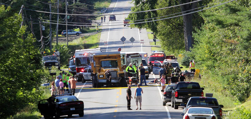 Both lanes of China Road, also known as Route 137, were shut down in Winslow following a head-on collision on Wednesday afternoon.