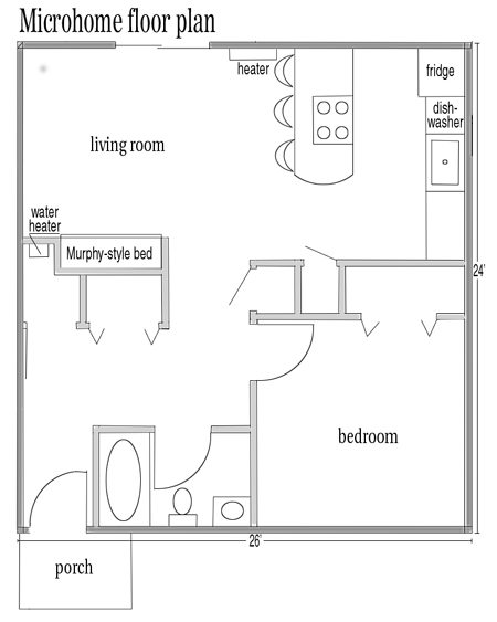 The floor plan of Andy Vear's microhome on Cool Street in Waterville.