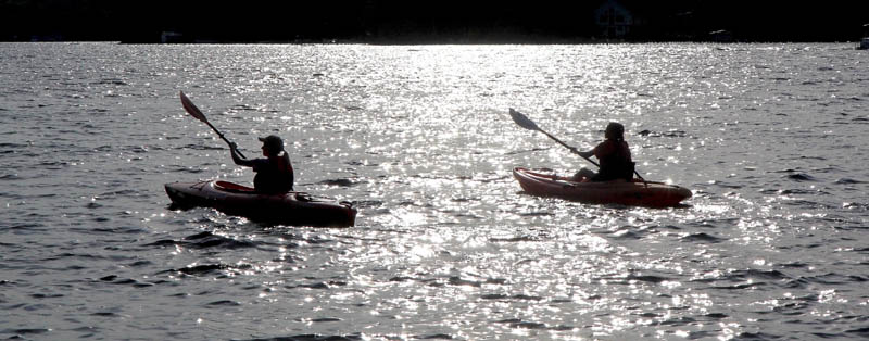 Kayakers set off across Messalonskee Lake for an evening paddle on Sunday. The weather forecast this week looks ideal for late-summer activities, with mostly sunny skies, temperatures in the upper 70s and lower 80s, with only a slight chance of thunderstorms Wednesday and Thursday.