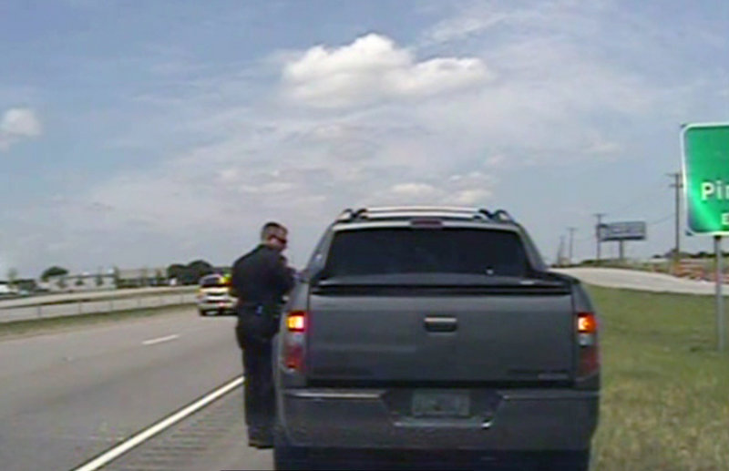 A video provided by the Forney, Texas, police department, shows an officer speaking with George Zimmerman after he was pulled over about 20 miles east of Dallas on Sunday.