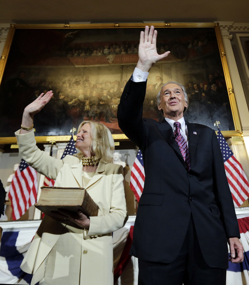 U.S. Sen. Edward Markey is vowing to fight against automatic federal spending cuts and keep critical grant money flowing into key research industries in the state as he settles into his new job on Capitol Hill. Above, with his wife Susan Blumenthal.