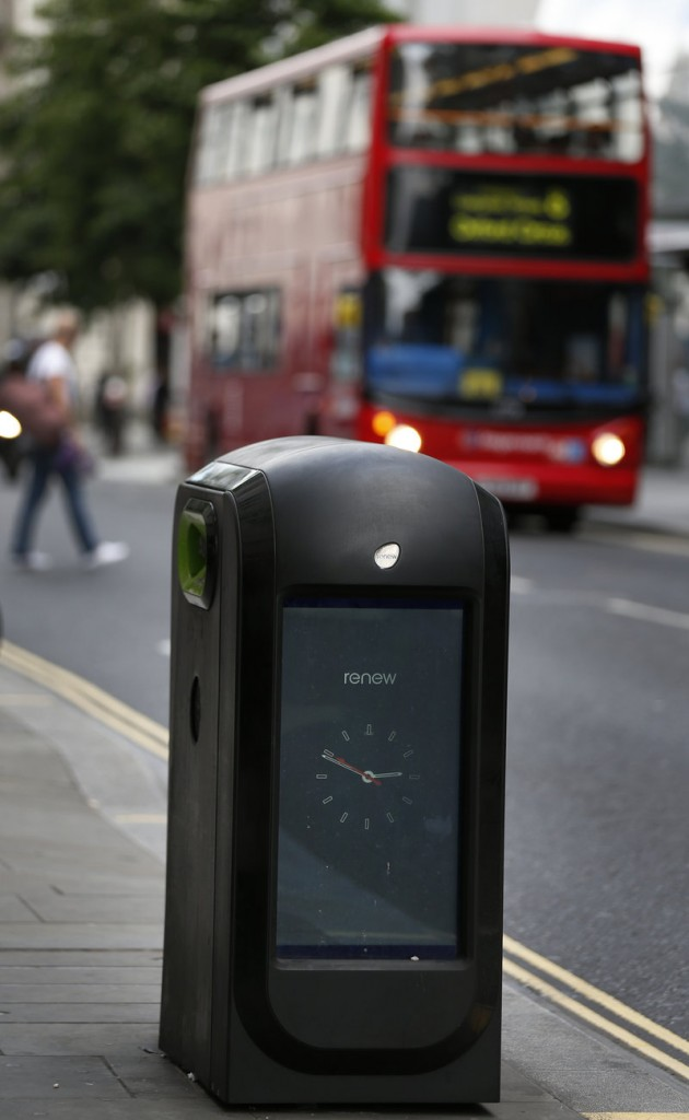 A high-tech trash bin in London tracks individuals by capturing signals from smartphones.